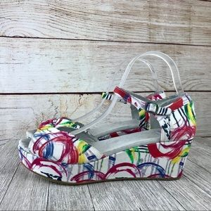 Toms Canvas Platform Abstract Watercolor Wedge